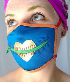 Heart of Gold zipper gag mask for Burning Man by madebyjulianne, $32.00