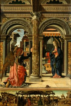 Francesco del Cossa — The Annunciation, : The Gemäldegalerie Alte Meister, Dresden, Germany Renaissance Kunst, Renaissance Paintings, Italian Renaissance, Italian Paintings, European Paintings, Small Paintings, Catholic Art, Religious Art, Religious Paintings