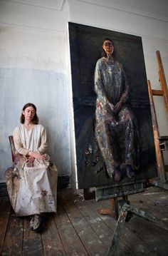 Celia Paul with Self Portrait, oil on canvas. Lover of Artist Lucian Freud. Artist Life, Artist At Work, Atelier D Art, Artists And Models, Edward Hopper, Lucian Freud, Famous Artists, Paintings Famous, Oil Paintings