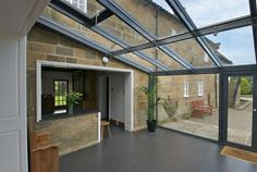 glass lean-to conservatory Lean To Conservatory, Conservatory Extension, Conservatory Kitchen, Conservatory Ideas, House Extension Design, Glass Extension, House Design, Extension Ideas, Windows