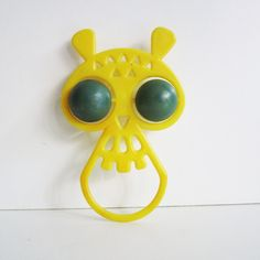 Vintage baby rattle OWL, his name is Victor. Use him for mixed media art, shadow boxes, or to keep company....