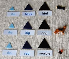 grammar with objects using montessori strategy.