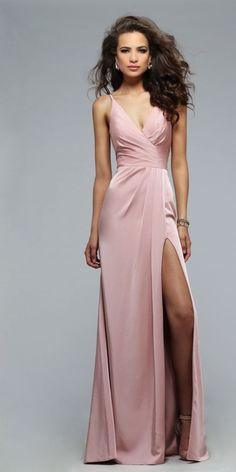 Charming Pink Prom Dress,Spaghetti Straps Party Dress,Side Slit,93