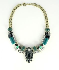 195040b554df Jade coloured crystal statement necklace