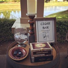 Grooms special Cigar Bar on the patio overlooking the gorgeous scenery here at #wedgewoodbrentwood #wedgewoodwedding