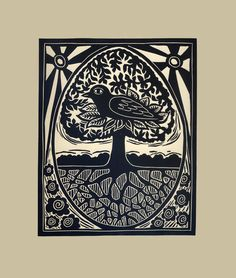 Bird, Tree and Egg original linocut.