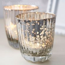 Antique Ribbed Glass Tea Light Holders