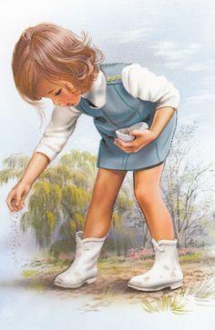 ❤Sweet Girl and Duckling GIF ~ Artist Marcel Marlier Marcel, Vintage Images, Vintage Art, Animation, Book Illustration, Vintage Children, Photos, Pictures, Painting & Drawing