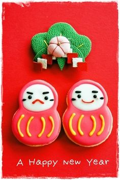 . Japanese Cookies, Japanese Sweets, Fancy Cookies, Cute Cookies, Marshmallow Flowers, Chinese New Year Cookies, Japanese Language Lessons, Japanese New Year, Cute Food