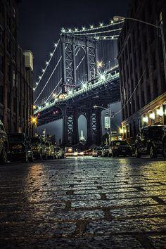 NYC Photography Manhattan Bridge New York Art by VladislavBorimsky Brooklyn Night, Nyc At Night, New York Night, Brooklyn Dumbo, New York Photography, Night Photography, Street Photography, New York Wallpaper, City Wallpaper