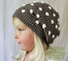 Crochet PATTERN: The Ashby Slouchy Beret -Toddler, Child,  Adult Sizes- polka dot, simple, beanie, fall,