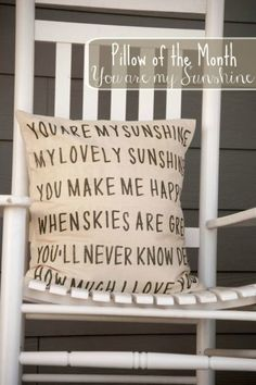 """Check out this tutorial and free printable to make your own """"you are my sunshine pillow!"""" It's just like the one from Anthropologie! It makes a great addition to your bedroom or sitting room decor.  It also makes a great gift!"""
