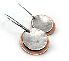 Mixed Metal Earrings, Copper Sterling Silver Hammered Disc Boho Handmade Jewelry