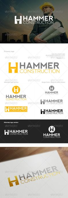 Buy Nail & Hammer Construction Company Logo by creativeoaks on GraphicRiver. An excellent logo template suitable for Construction related businesses and companies, among others, who base their w. Typo Logo, Logo Branding, Branding Design, Logos, Logo Inspiration, Construction Company Logo, Construction Companies, Hammer Logo, Building Logo
