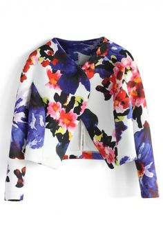 Watercolor Floral Cropped Jacket