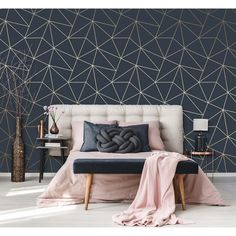 I love Zara Shimmer Metallic Wallpaper Navy Gold bedroom wallpaper Navy Bedrooms, Navy Living Rooms, My Living Room, Blue And Gold Bedroom, Grey Bedroom With Pop Of Color, Navy Copper Bedroom, Bedroom Walls, Bedroom Colors, Wall Paper Bedroom