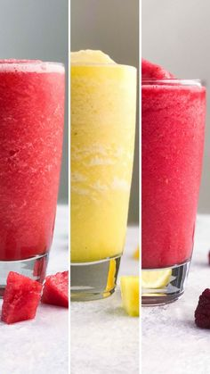 Refreshing Summer Coolers Skip the pre-made juices and whip up a watermelon-lime, orange-pineapple, or raspberry lemonade slush.Skip the pre-made juices and whip up a watermelon-lime, orange-pineapple, or raspberry lemonade slush. Fruit Smoothie Recipes, Easy Smoothies, Smoothie Drinks, Protein Smoothies, Slush Recipes, Juice Smoothie, Diet Drinks, Smoothies Verdes, Frozen Fruit Smoothie