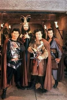 """""""James Pax (Lightning), James Hong (Lo Pan), Carter Wong (Thunder) and Peter Kwong (Rain) in a promotional photo for Big Trouble in Little China """" Fantasy Movies, Sci Fi Movies, Comedy Movies, James Hong, China Movie, Cinema Tv, Martial Arts Movies, Tv Show Games, Film Images"""