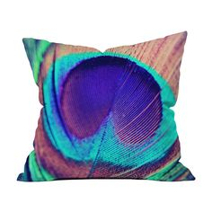 Add colorful visual interest to any space with this throw pillow. Made from woven polyester, this pillow has a double-sided print with a concealed zipper and will add a vibrant kick to any room. Toss o...  Find the Peacock Feather Pillow, as seen in the Throw Pillows Collection at http://dotandbo.com/category/decor-and-pillows/pillows/throw-pillows?utm_source=pinterest&utm_medium=organic&db_sku=P15454