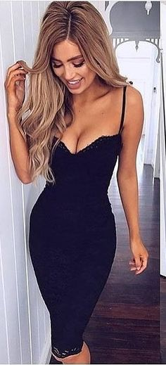 #spring #outfits woman wearing black spaghetti strap bodycon dress. Pic by @fashionloovy