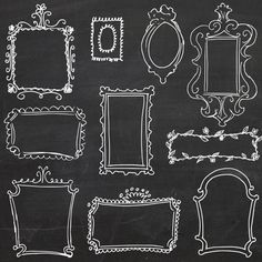 Chalkboard Doodle Frames // Photoshop Hand Drawn // DIY Wedding Photos // Photography Design Elements // Black board Chalk // Commercial Use...