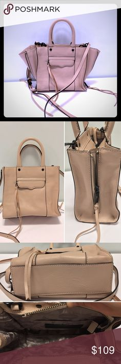 "Rebecca Minkoff Side Zip MAB Tote Mini Crossbody Color: Latte (faded peach-ish tan) with black hardware.  Condition: new without tags. No dustbag. Never before used or worn. Tassles slightly stuff. Genuine leather. 8"" H x 7.25 W x 3.5"" D. Top handles with 4.5"" drop. Removable 22"" strap drop. One interior slip pocket.  Original retail: $225 + tax. features side zips to expand the bag. Mini version of best selling MAB tote *Scale shot in 4th pic taken from Rebecca Minkoff site. Black version…"
