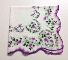 Purple Floral Handkerchief, Purple and Green Hanky, White Handkerchief, Printed Hanky