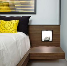 Custom Laminate Walnut Floating Side Tables Display Niches With LEDs Of Modern Bedroom Design Ideas: Vibrant Contemporary Model Home Design in Toronto