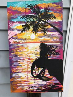 A personal favorite from my Etsy shop https://www.etsy.com/listing/523669054/sunset-mermaid-silhouette-pink-yellow