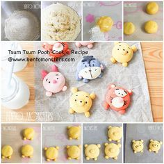 tsum tsum cookies (but can do any characters you like) Ingredients: butter icing sugar,macarrones sifted potato starch cake flour Kawaii Cookies, Disney Cookies, Cute Cookies, Disney Desserts, Cute Desserts, Disney Food, Dessert Kawaii, Cartoon Cookie, Cute Buns
