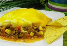 Mexican shepherds pie - use corn bread on top instead of mashed potatoes! I used 2 boxes of  jiffy corn muffin mix. tz