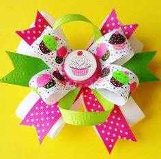 HAPPY CUPCAKE Hair Bow. Cupcake Hair Bow. Hair bow by pixieclip, $7.95