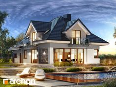 Dom w śliwach 2 House Outside Design, House Front Design, Modern House Design, Beautiful House Plans, Dream House Plans, Modern House Plans, Home Building Design, Building A House, Casas Country