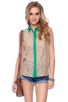 All Laced Up Sleeveless Shirt in Jade $36 at www.tobi.com