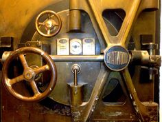 The door to a bank vault under the old bank building