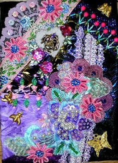 I ❤ crazy quilting, beading & embroidery . . . Purple Cellphone Pouch- When one wakes up at 2 in the morning, one finds themselves with a lot of stitching time!  I completed the stitching on my purple cellphone pouch. ~By Kitty and Me