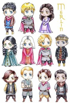 Top row Left to right: Merlin, Arthur, Gwen Middle row left to right:Morgana, Gaius, Sir leon, King uther Bottom row Left to right:Sir Gwaine, Sir Percival, Sir lancelot, Sir Elyan