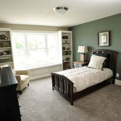 Bedroom Accent Wall Design, Pictures, Remodel, Decor and Ideas - GREEN ACCENT WALL!