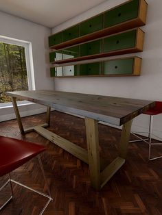 Large mid century style reclaimed wooden dining by Naturalcity