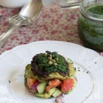 Galettes brocoli pommes de terre pesto épinards