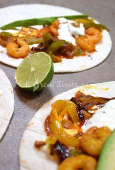 Mexické krevetové fajitas a krémové guacamole Fajitas, Guacamole, Tacos, Food And Drink, Mexican, Ethnic Recipes