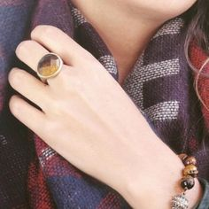 Statement Ring Warm tigers eye semi-precious gemstones for all your favorite outfits. This ring compliments every look! Hypoallergenic, lead and nickel free. Ocean Jewelers Jewelry