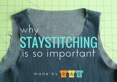 Attention, everyone, this is a sewing PSA. Staystitching is a garment-sewing technique that is really important. I am sharing this with you because when I started sewing, many years ago, I did not kno Sewing Lessons, Sewing Hacks, Sewing Tutorials, Sewing Projects, Sewing Tips, Sewing Ideas, Sewing Crafts, Diy Crafts, Baby Leggings