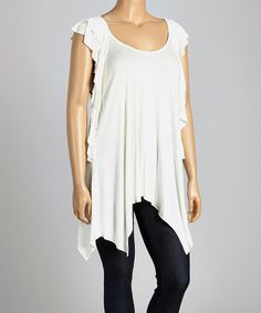 Look what I found on #zulily! Off-White Flutter-Sleeve Top - Plus by Poliana Plus #zulilyfinds