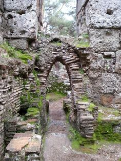 In the ancient Roman baths of the Phaselis Ruins near Kemer. Antalya, Turkey. Love the way the moss contrasts the stone!