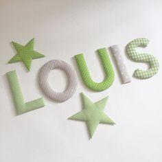 Der kleine Louis bekommt Stoffbuchstaben in grün/beige und zwei Sterne fürs Kinderzimmer  #namensbuchstaben #name #boysroom #doorletters #wallletters #wanddeko #norabellahome #individuell #buchstaben #kinderzimmer #kinderzimmerdeko #babyzimmer #babyzimmerdeko #stoffbuchstaben