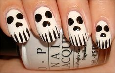 Skull Nails by swatchandlearn.com #nails #nailart #halloweennails
