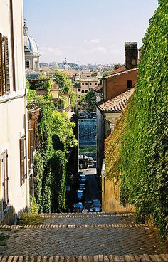 Steps in Trastevere, Rome, Italy I just love streets in Rome. All of Europe, really.