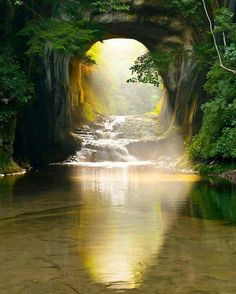 Beautiful underground cave. The light hits just right on the water, looks so magical!