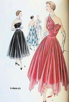 1950 Vogue S4064 Love the bow on the pink dress Evening Dress Patterns, Dress Making Patterns, Vintage Vogue Patterns, Vintage Dresses, Vintage Outfits, Vintage Fashion, Dress Drawing, Retro Pattern, Mccalls Patterns